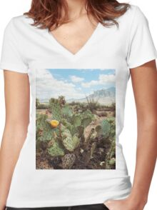 Superstitious Arizona Desert Mountain Cactus Bloom Women's Fitted V-Neck T-Shirt