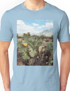 Superstitious Arizona Desert Mountain Cactus Bloom Unisex T-Shirt