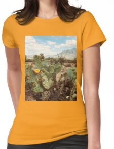 Superstitious Arizona Desert Mountain Cactus Bloom Womens Fitted T-Shirt