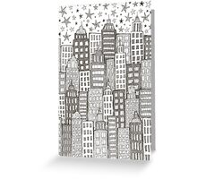 layered city doodle with stars Greeting Card
