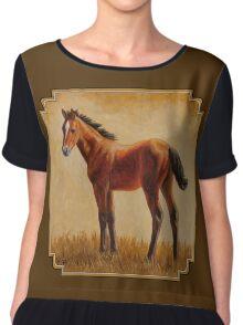 Cute Bay Quarter Horse Foal Chiffon Top