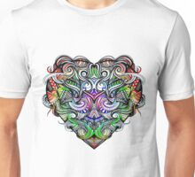 One Love Colorful Rainbow Hand Drawn Heart Design Unisex T-Shirt