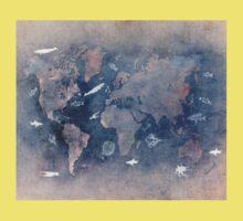 world map 1 sealife  One Piece - Short Sleeve