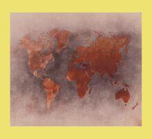 World map brown One Piece - Short Sleeve