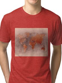 World map brown Tri-blend T-Shirt