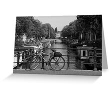 Bicycle On An Amsterdam Bridge Greeting Card