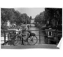 Bicycle On An Amsterdam Bridge Poster