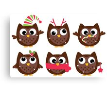 New in shop! Cute brown owl characters : brown Canvas Print