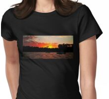 Crimson and Dark Sunrise. Womens Fitted T-Shirt