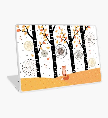 Fox - Birch Trees - Autumn Laptop Skin