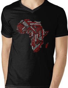 Pan African Graphic Continent T-Shirt with Countries Mens V-Neck T-Shirt