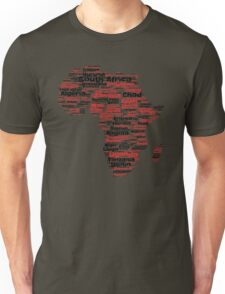 Pan African Graphic Continent T-Shirt with Countries Unisex T-Shirt