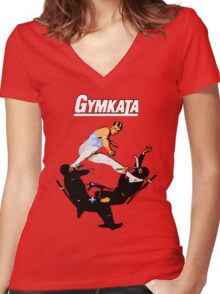The skill of gymnastics, the kill of karate. Women's Fitted V-Neck T-Shirt