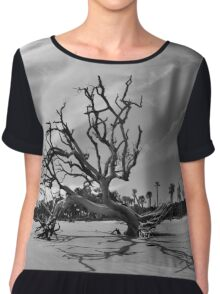 Hunting Island Beach And Driftwood Black And White Chiffon Top