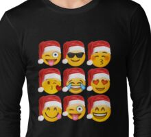 Christmas Emoji Shirt 9 Emoji Faces Wearing Santa Hats Long Sleeve T-Shirt