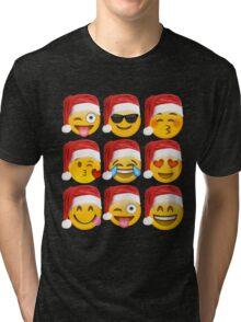 Christmas Emoji Shirt 9 Emoji Faces Wearing Santa Hats Tri-blend T-Shirt