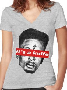 "21 Savage ""it's a knife"" Supreme Women's Fitted V-Neck T-Shirt"