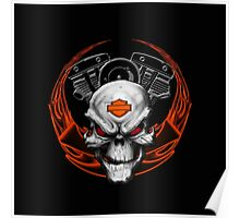 Orange Flames with Skull & Engine Poster