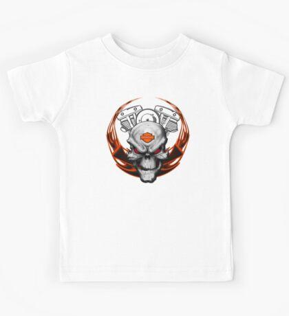 Orange Flames with Skull & Engine Kids Tee