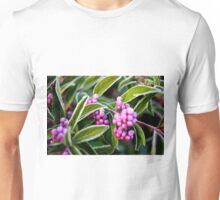 Frost dusts a beautyberry (Callicarpa dichotoma) Unisex T-Shirt