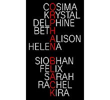 Orphan Black - names (white) Photographic Print
