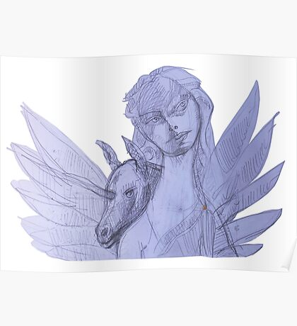 Fairy Angel and Unicorn (Original Art Drawing by Alice Iordache) Poster