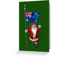Santa Claus With Flag Of Australia Greeting Card