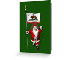 Santa Claus With Flag Of California Greeting Card
