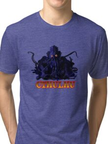 CTHULHU BLUE HP LOVECRAFT Tri-blend T-Shirt