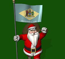 Santa Claus With Flag Of Delaware by Mythos57