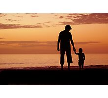 Sunset walk with dad Photographic Print