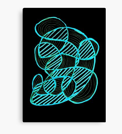Siting in a long coat - neon Canvas Print