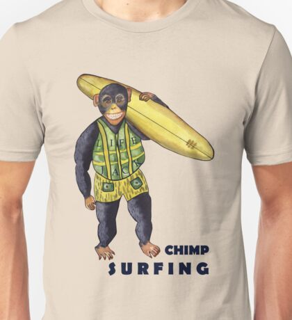 Chimp surfing Unisex T-Shirt