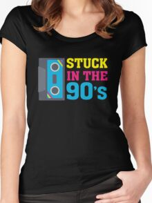 Stuck In The 90's Cassette Tape Vintage Retro Tech Women's Fitted Scoop T-Shirt