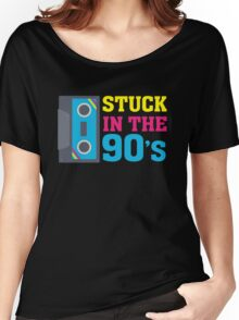 Stuck In The 90's Cassette Tape Vintage Retro Tech Women's Relaxed Fit T-Shirt