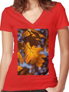 Glowing Autumn - Golden Oak Leaf Women's Fitted V-Neck T-Shirt
