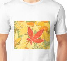 Autumn illustration with colorful fallen leaves Unisex T-Shirt