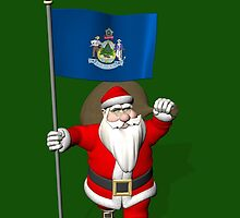 Santa Claus With Flag Of Maine by Mythos57