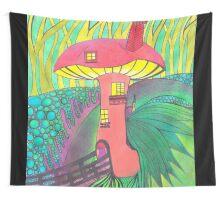 Mushroom House Wall Tapestry