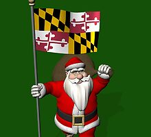 Santa Claus With Flag Of Maryland by Mythos57