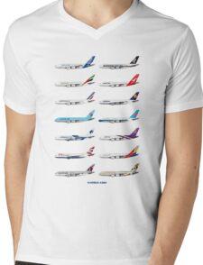 Airbus A380 Operators Illustration Mens V-Neck T-Shirt