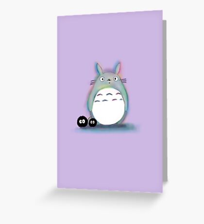 Watercolour Totoro and Soot Sprites Greeting Card