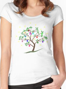 Colour Me Christmas Tree Baubles Women's Fitted Scoop T-Shirt