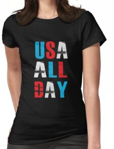 USA ALL DAY - Proud American  Womens Fitted T-Shirt