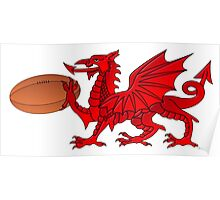 Welsh Dragon With a Rugby Ball Poster