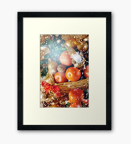 Christmas Decorations with Tangerine and Toy Santa Framed Print