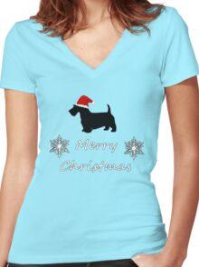 Christmas Terrier Women's Fitted V-Neck T-Shirt
