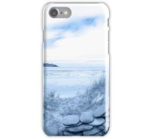 blue toned stone wall shelter on a beautiful beach iPhone Case/Skin