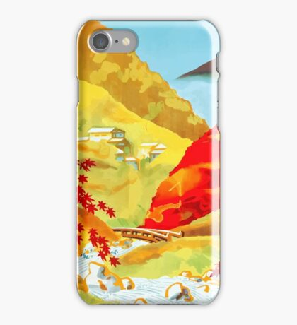 Vintage Red Leaves at Yunoyama Onsen Japan Travel iPhone Case/Skin