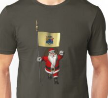Santa Claus With Flag Of New Jersey Unisex T-Shirt